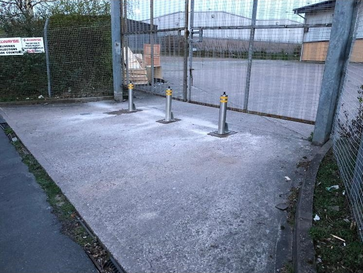 bollards in front of gate