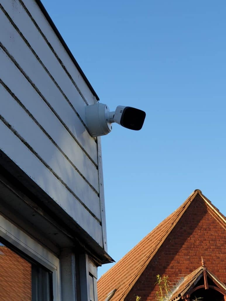 one cctv camera looking outwards