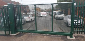 gate within prison mesh fencing
